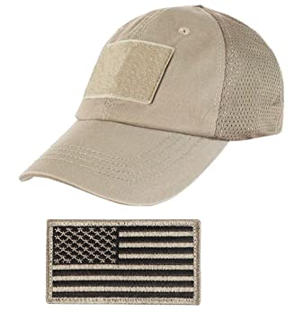 Ultimate Arms Gear Tactical Military Coyote Tan Baseball Team Mesh Hat Cap  + USA Flag Patch 7565f3fee40