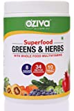 OZiva Superfood Greens & Herbs (Supergreens powder with Chlorella, Spirulina & 34 Detox Ingredients) 250g