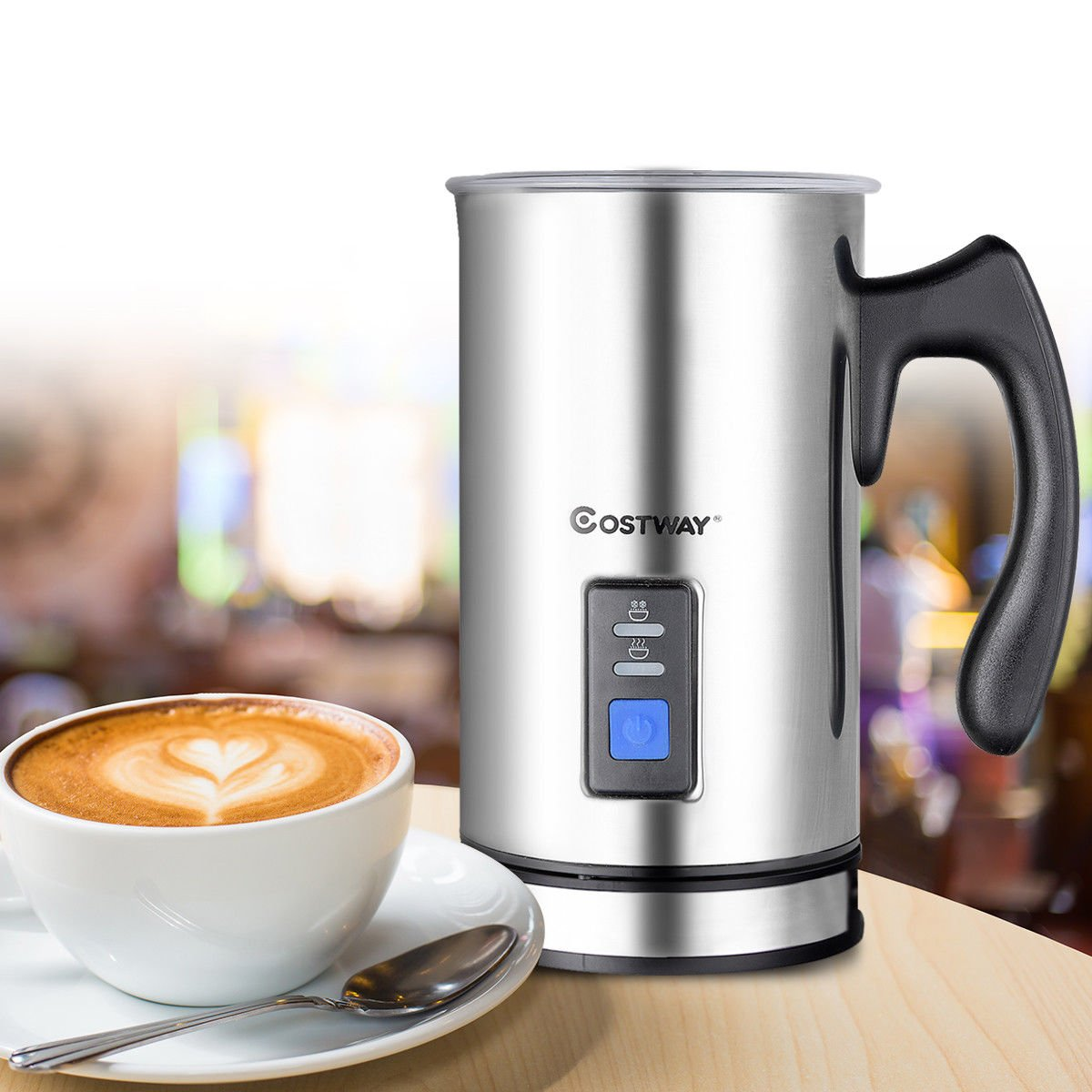 COSTWAY Milk Frother, Electric Automatic Stainless Steel,Non-Stick Interior, Milk Steamer Foamer for Coffee, Latte, Cappuccino with Handheld (Stainless-Update) by COSTWAY (Image #3)