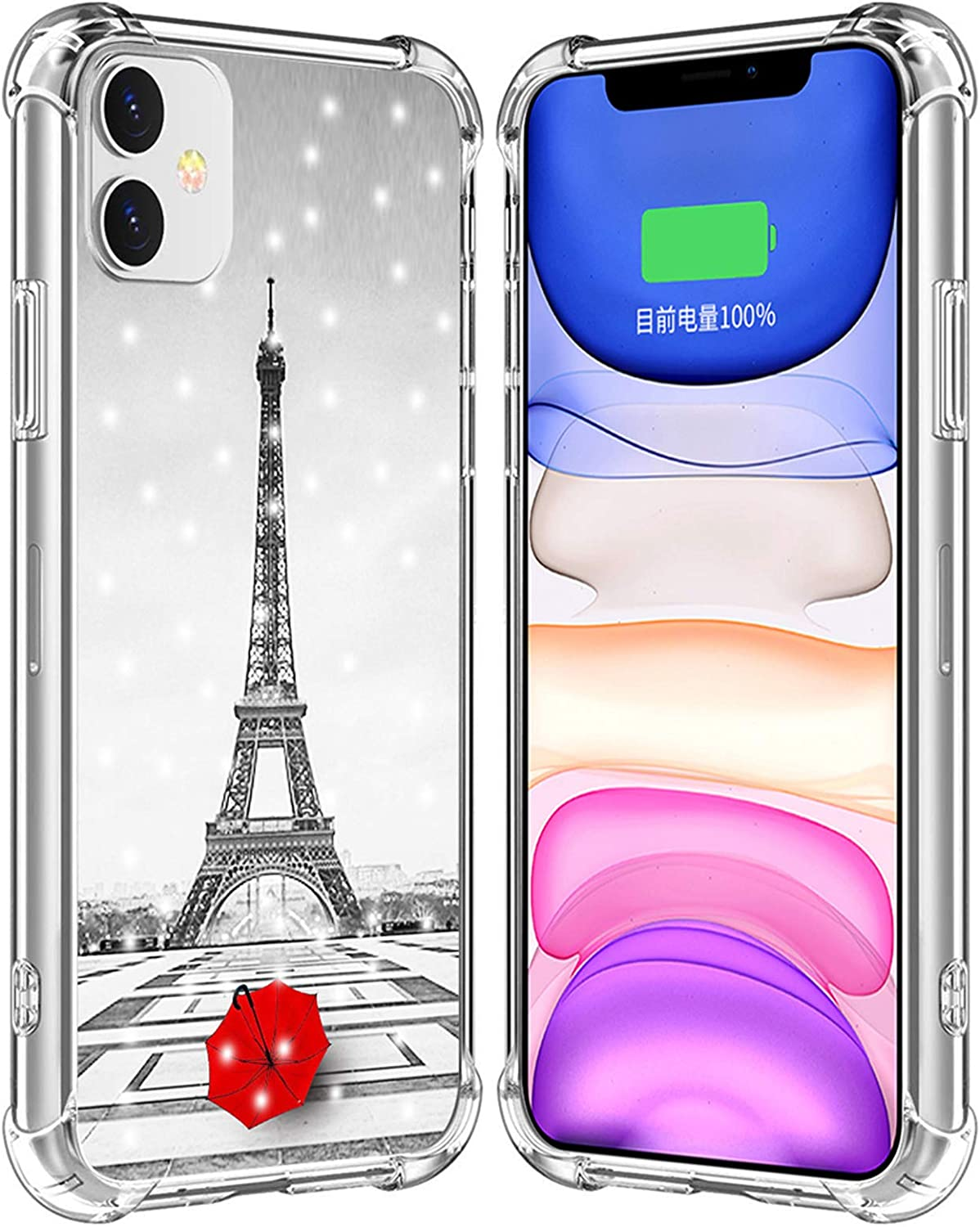 Case for iPhone 12 Eiffel Tower/IWONE Designer Rubber Durable Protective Skin Cover Shockproof Compatible for iPhone 12 5G 5.4 Inches Get Lost in Paris Creative Romantic Eiffel Tower Design
