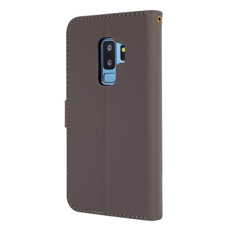 Docrax Handyh/ülle Lederh/ülle f/ür Samsung Galaxy S9+ S9 Plus Flip Case Schutzh/ülle H/ülle mit Standfunktion Kartenfach Magnet Brieftasche f/ür Galaxy S9+ S9Plus - DOGHU040240 Grau