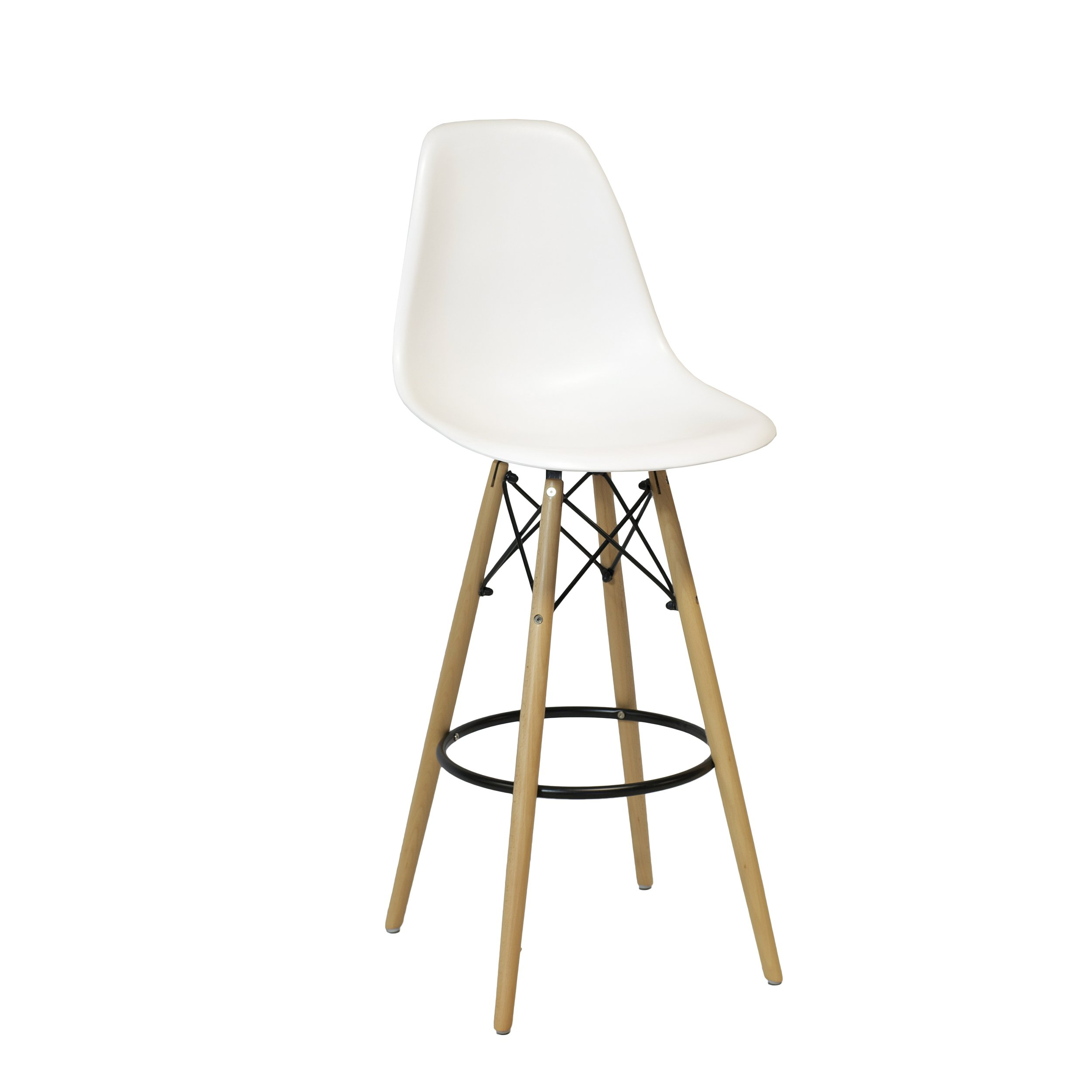 Design Tree Home Charles Eames Style DSW Counter Stool, White
