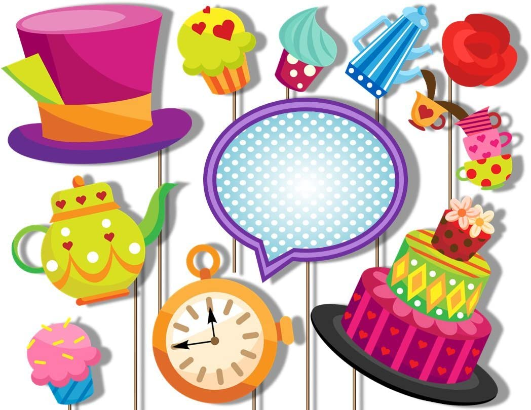Alice In Wonderland Mad Hatter Birthday Tea Party Photo Booth Props Decorations