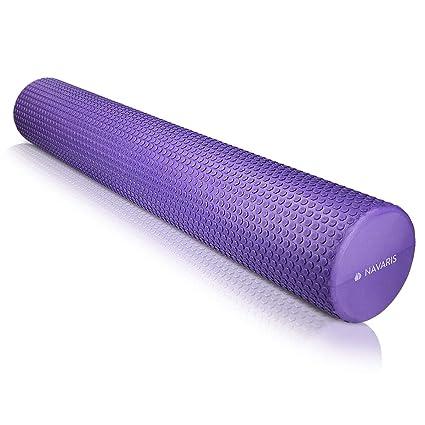 Navaris Rodillo para Pilates de 90CM - Rodillo de Espuma para Masaje Fitness y Yoga - Foam Roller para fortalecimiento Muscular en Azul
