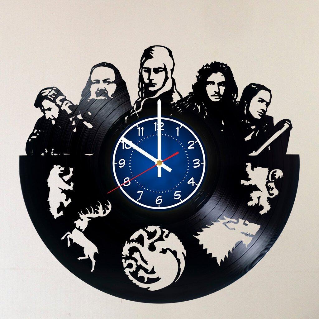 CAKE TOPPERS COMPANY SEASON 8 GAME OF THRONES Handmade Vinyl Record Wall Clock - Get unique home room wall decor - Mother Of Dragons Targaryen, Jon Snow – GOT Epic Movie Unique Modern Art