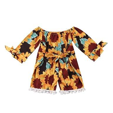4b7e6e8e293 Infant Baby Girls Off Shoulder Sunflower Print One-Piece Romper Jumpsuit  Sunsuit Outfit Short Pants