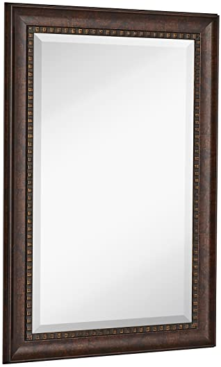 Hamilton Hills New Large Transitional Rectangle Wall Mirror | Luxury Designer Accented Frame | Solid Beveled Glass | Made in USA | Vanity, Bedroom, or Bathroom | HangsHorizontal or Vertical