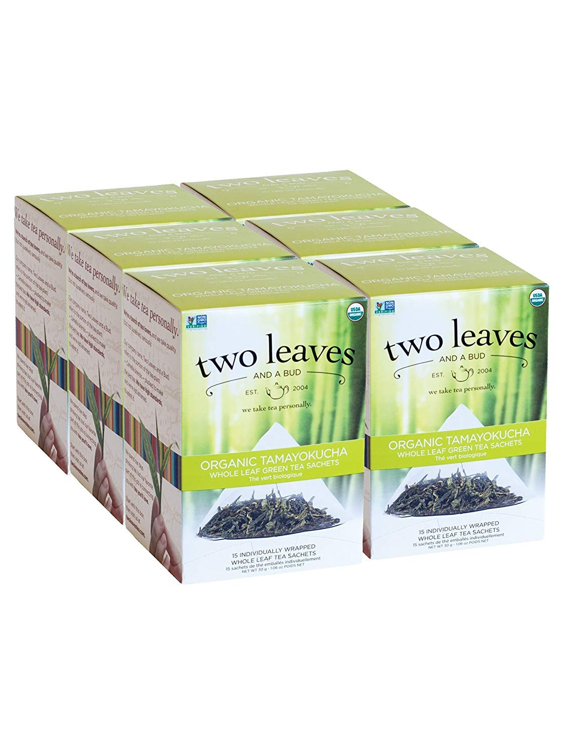 Two Leaves and a Bud Organic Tamayokucha Green Tea Bags, Whole Leaf Green Tea in Sachets, 15 Count (Pack of 6)