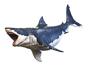 "18"" Megalodon #2 Shark Wall Decal Sticker Ocean Under The Sea Kids Room Decor Boys Bedroom Birthday Gift Man Cave Decor Prehistoric Extinct Big Tooth"