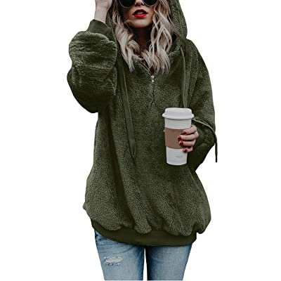 COCOLEGGINGS Women's Sherpa Pullover Fuzzy Fleece Sweatshirt Oversized Hoodies at Women's Clothing store
