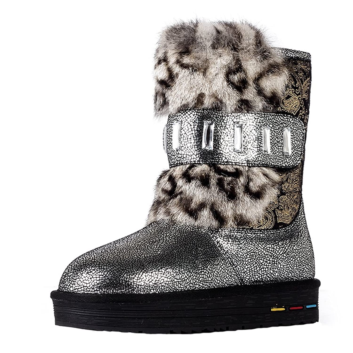 Women's Crystal Mid Calf Leather Winter Warm Flat Snow Boots