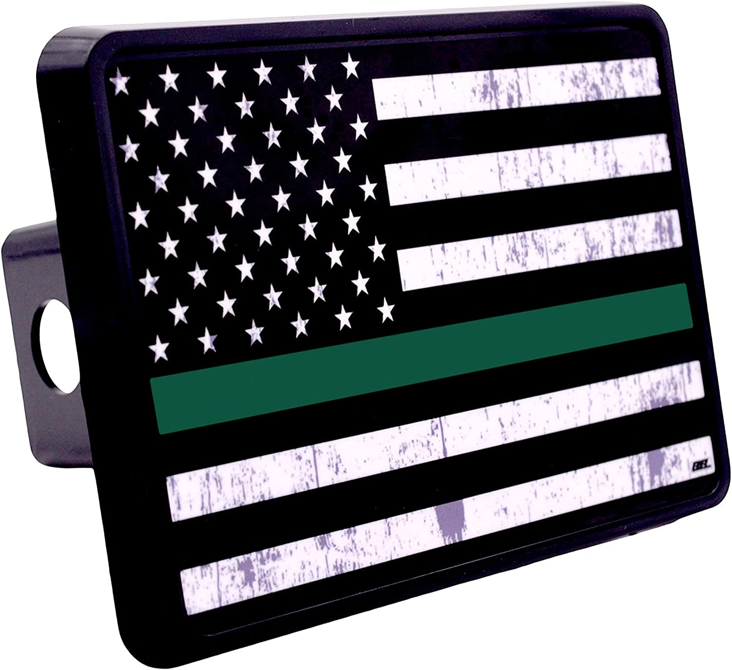 Rogue River Tactical Tattered Thin Green Line Flag Trailer Hitch Cover Plug US Federal Law Enforcement Officers and Military Veterans Border Patrol Game Warden and Park Ranger