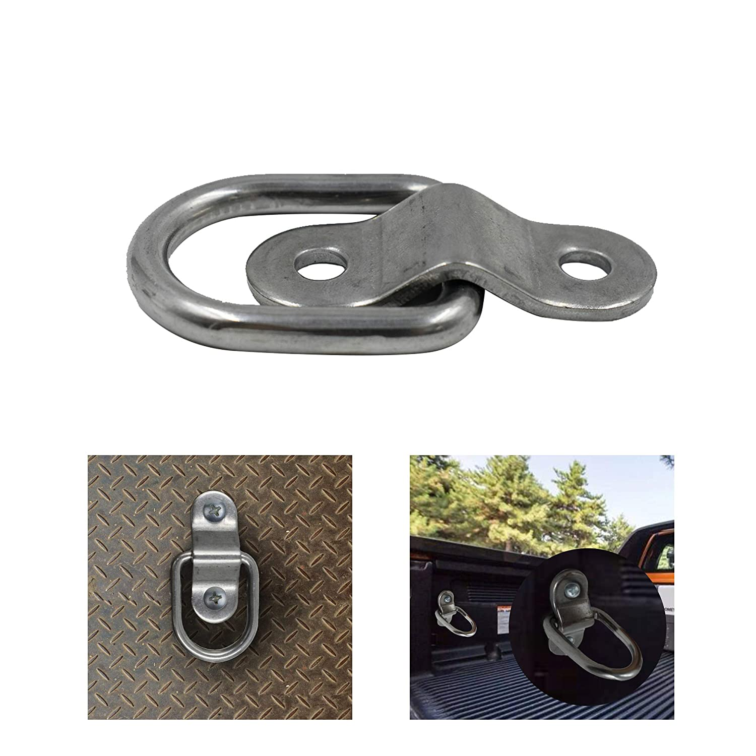 Alovexiong 2 Pack D Ring Tie Down Ring Lashing Rings Load Anchor Trailer Anchor Forged Lashing Ring Surface Floor Mount Ring Capacity Safe Secure Hauling for Trailers Trucks RV Campers SUV Boats
