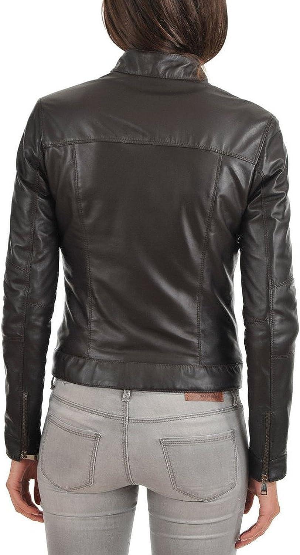 100/% New Genuine Leather Lambskin Women Biker Motorcycle Jacket Ladies LFWN272