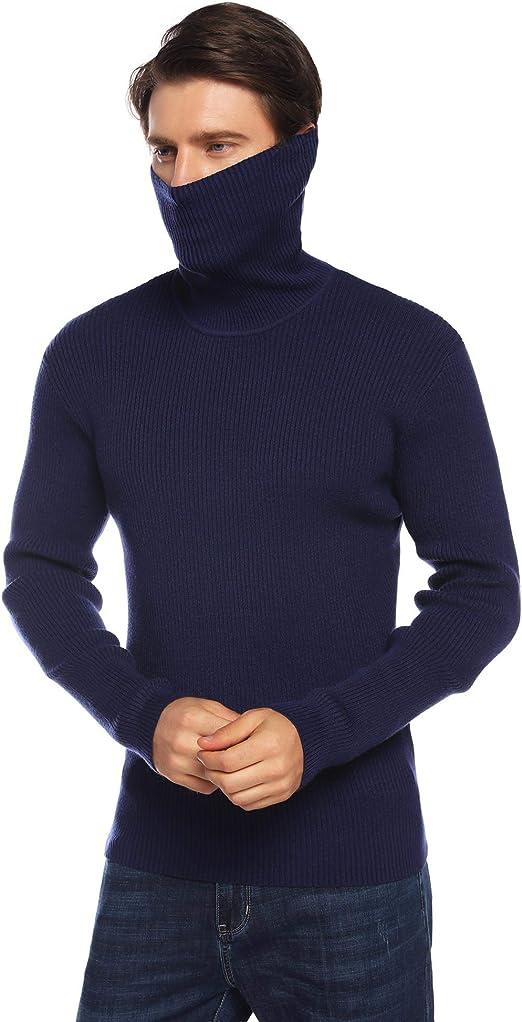 iClosam Su/éTer Hombre Invierno Cuello Alto Colores Lisos Transpirable Pullover Abrigo Jers/éIs Hombre con Cremallera