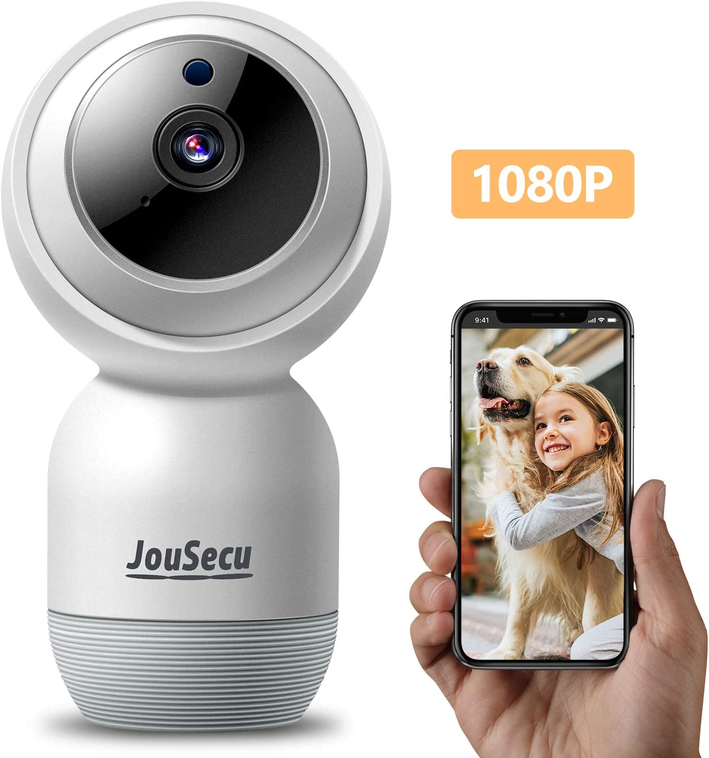 Indoor Security Camera Wireless IP Camera JouSecu Dome Camera 1080p PTZ Baby Crying/Motion Detection 2-Way Audio Night Vision Suitable for Surveillance Home Elder Nanny Pet Dog Safety 2.4G WiFi