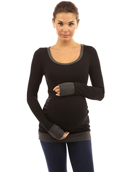 b3f4c1bac6763 PattyBoutik Mama Trim Scoop Neck Maternity Tunic Top (Black with Gray L) at  Amazon Women's Clothing store: