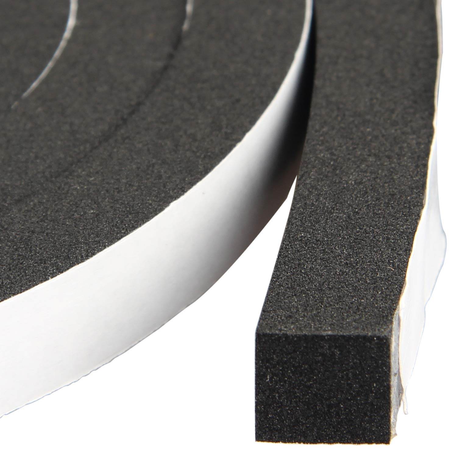Weather Stripping Closed Cell Foam Insulation Tape Rubber Seal Strip Window Insulation 1/2 Inch Wide X 1/2 Inch Thick X 13 Feet Long (2 Rolls of 6.5 Ft Long Each)