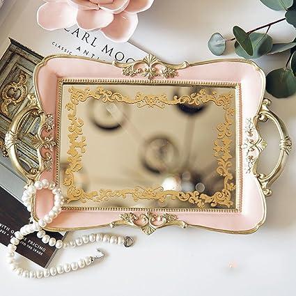 Vintage espejo bandeja joyas,Patrón antideslizante joyería almacenamiento caja europea clásica decoración accesorios escritorio oro
