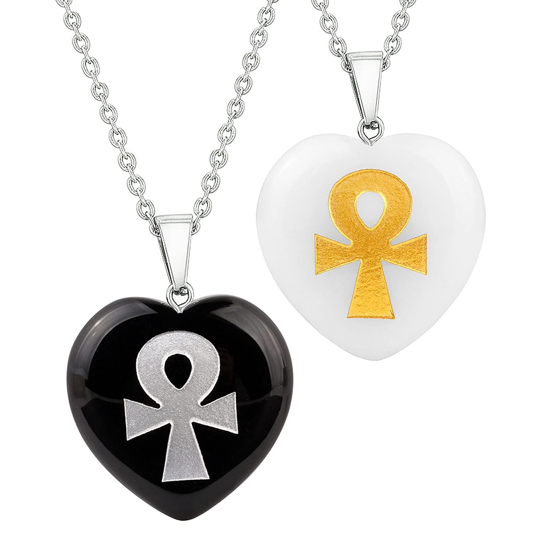Heart Amulets Ankh Egyptian Powers of Life Love Couples Best Friends Set Agate White Quartz Necklaces