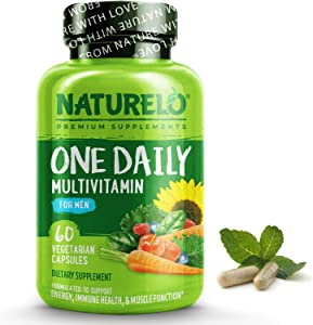 NATURELO One Daily Multivitamin for Men - with Vitamins & Minerals + Organic Whole Foods - Supplement to Boost Energy, General Health - Non-GMO - 60 Capsules   2 Month Supply