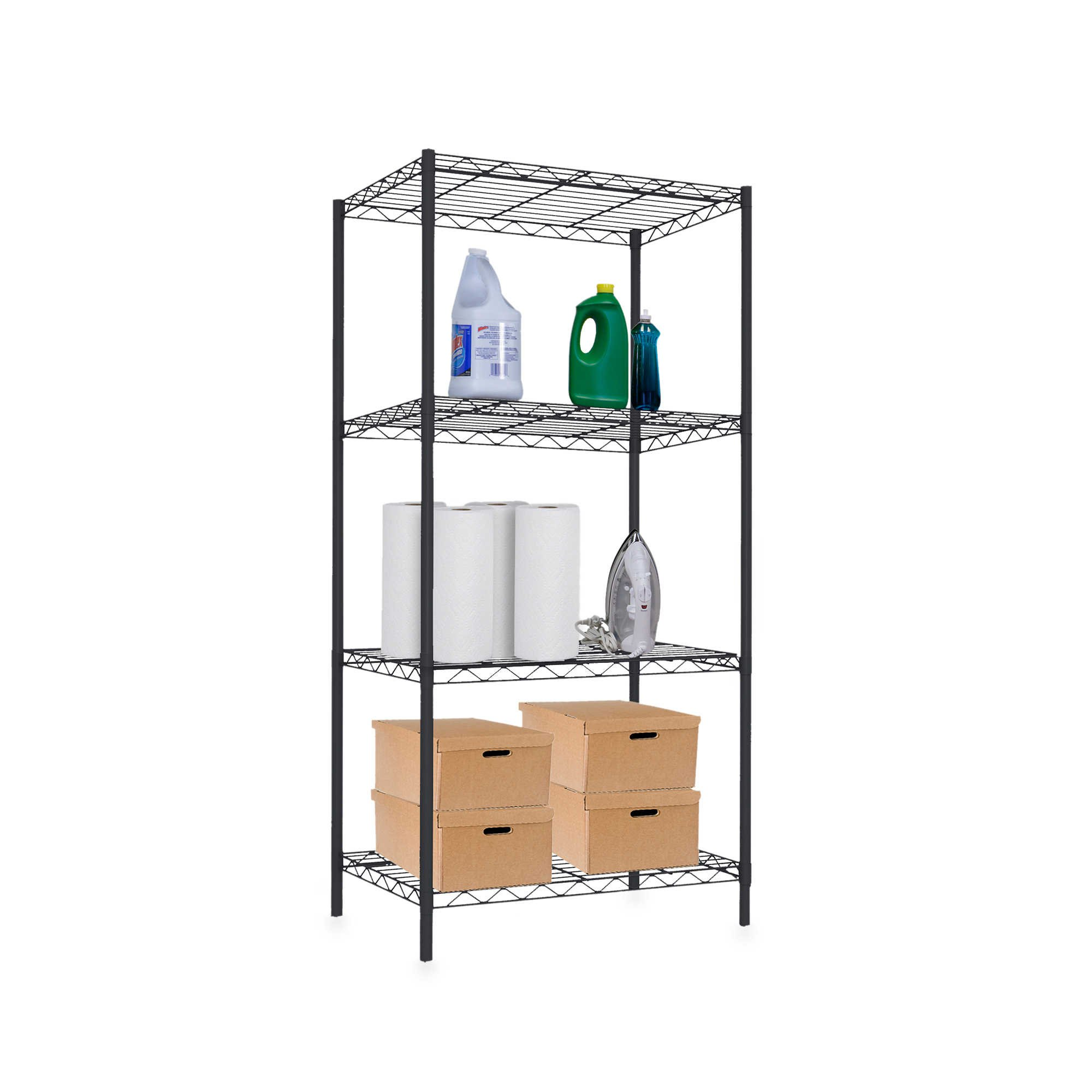 Home Basics Wire Shelf in Black in Multiples Sizes (4 TIER)