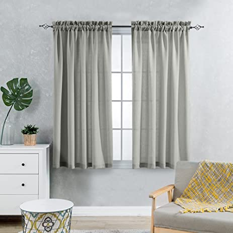Grey Sheer Curtains For Living Room 63 Inches Length Casual Weave Textured  Privacy Window Treatment Set