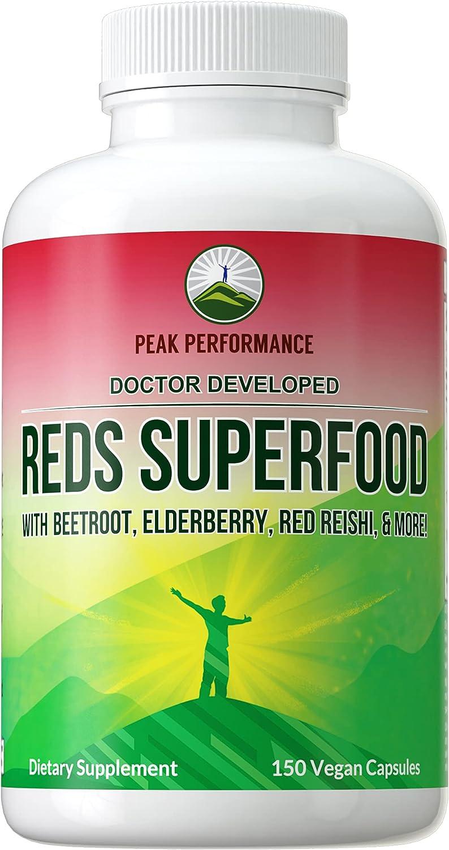 Organic Reds Superfood Powder Capsules. Red Juice Super Food Pills Supplement. Blend of 20+ Organic Ingredients. Vital Polyphenols, Phytonutrients, Prebiotics, Elderberry, Beet, Resveratrol, Reishi