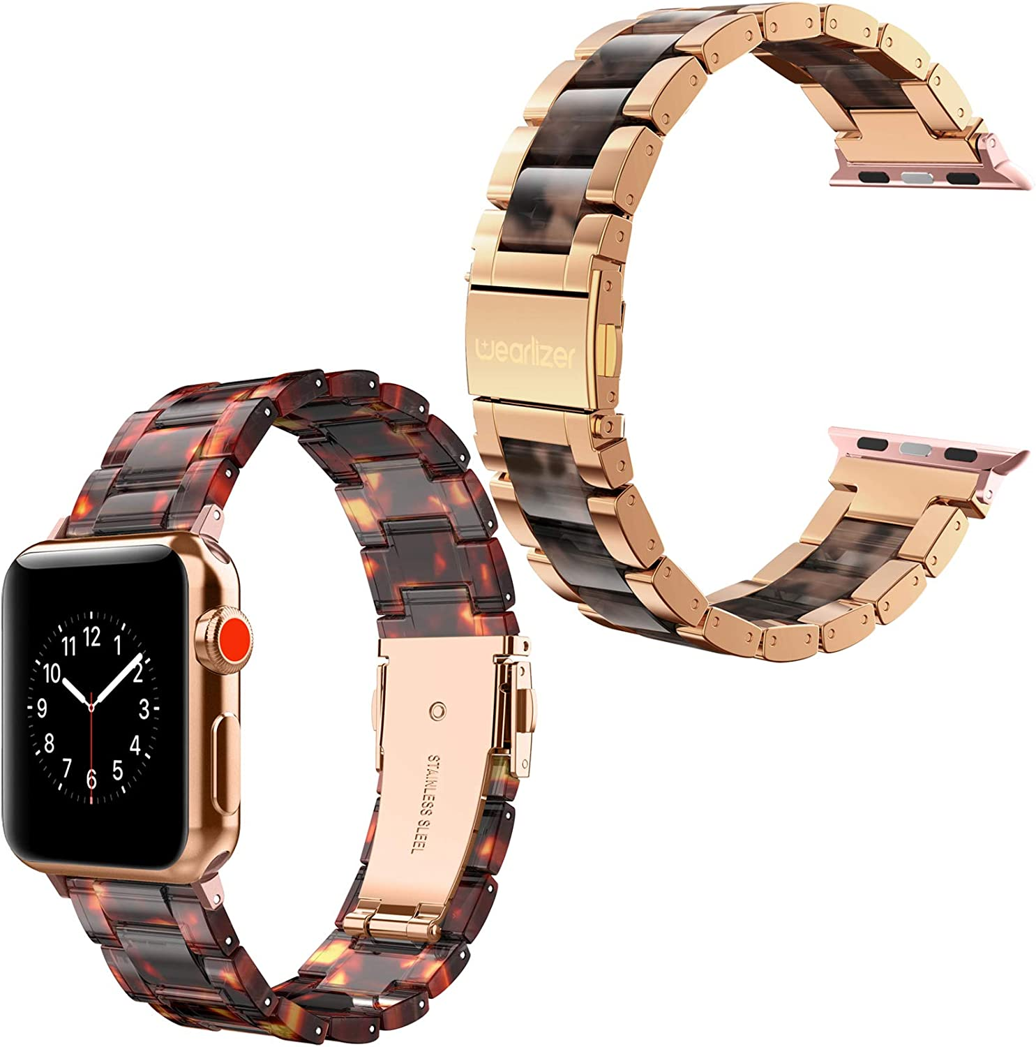 Wearlizer Compatible with Apple Watch Band 38mm 40mm for iWatch SE Metal & Resin Womens Wristband Series 6 5 4 3 2 1 Sport-Deep Rose Gold+Tortoise/Tortoise