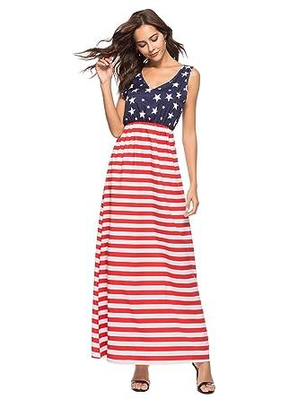 Youbenga Womens Casual V Neck Sleeveless Loose American Flag Maxi