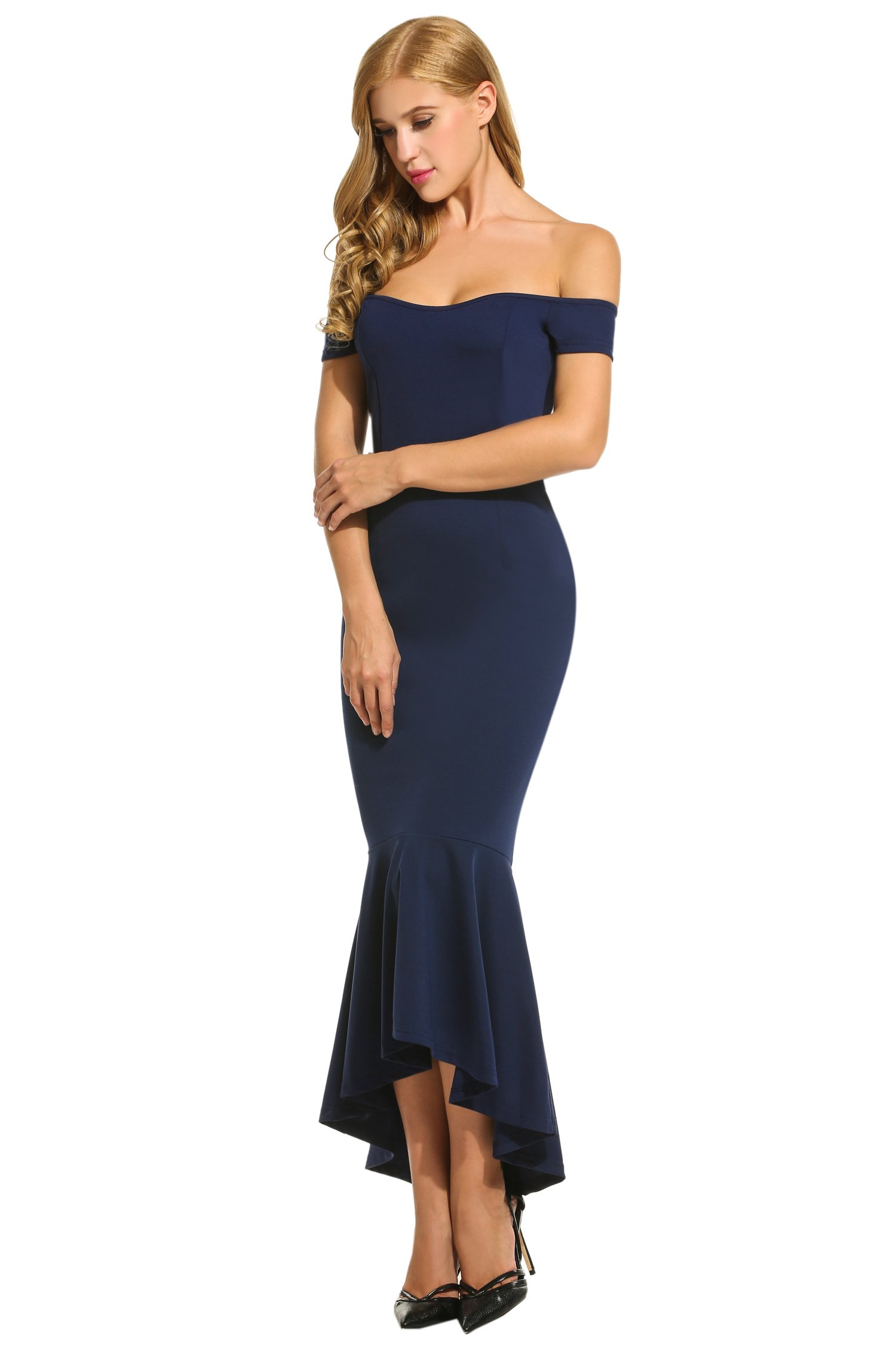 HOTOUCH Women's high waisted Mermaid Off The Shoulder Dresses Navy Blue S