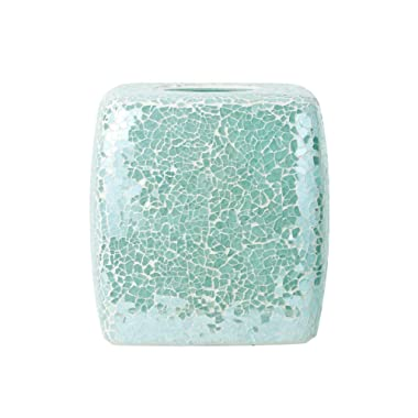 Whole Housewares Mosaic Glass Tissue Holder Decorative Tissue Cover Square Box (Turquoise)