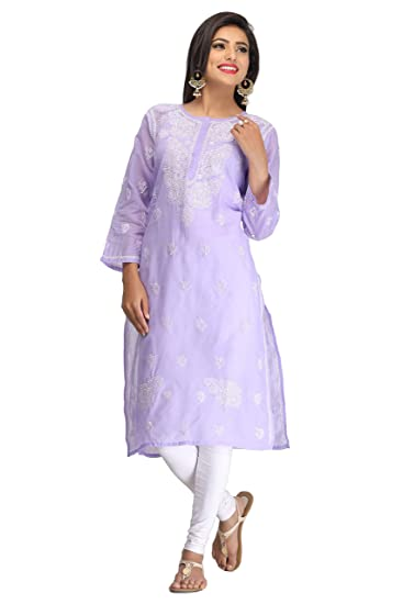c3a3be87b1 ADA Women's Hand Embroidered Fancy Cotton Kurti with Elegant Chikan  Stitches (XS133617,Mauve,