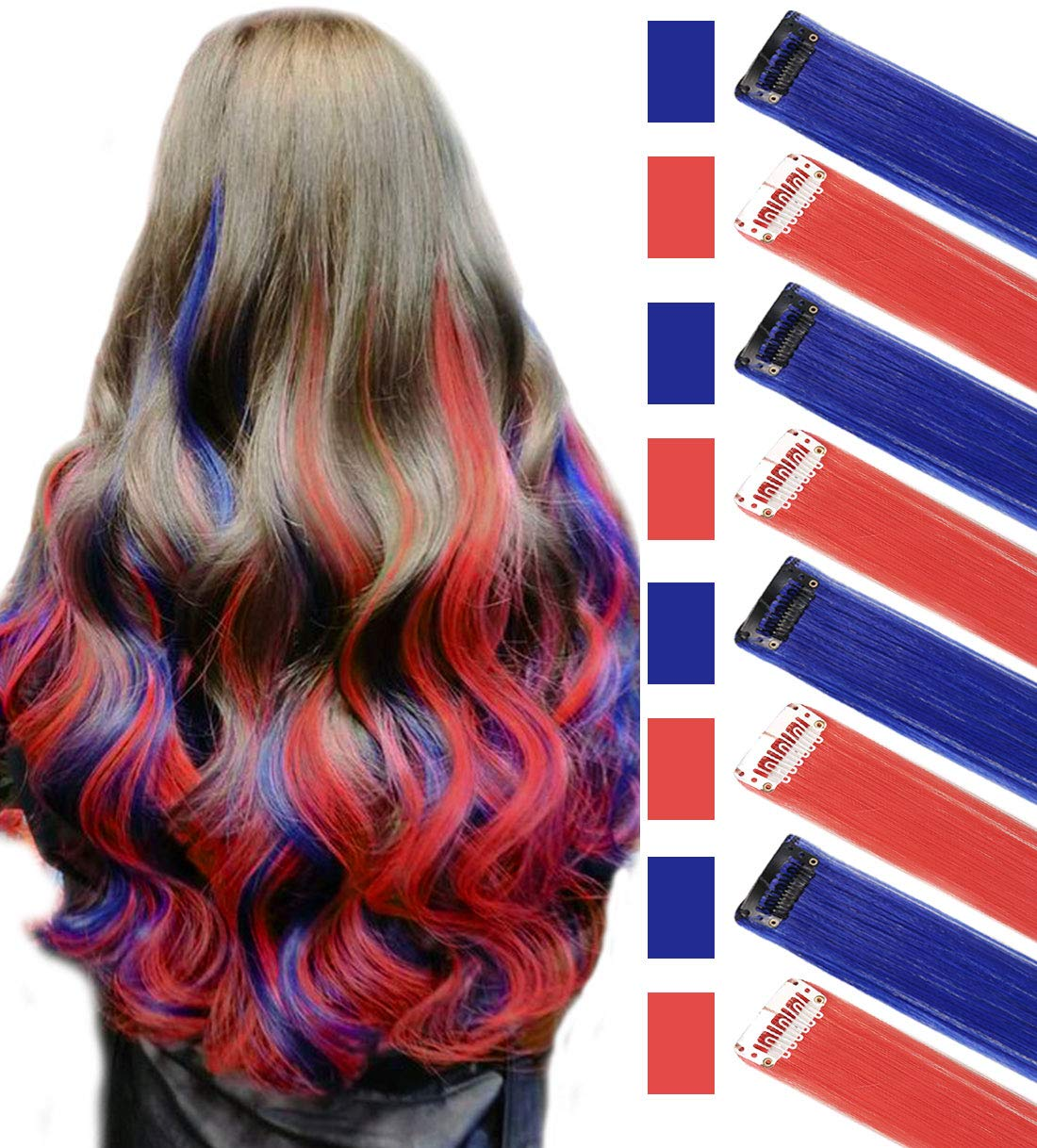 JCM Blue&Red Multi-Colors Party Highlights Straight Clip in/on Colored Hair Streak Synthetic Hairpieces(Blue Red) by JCM