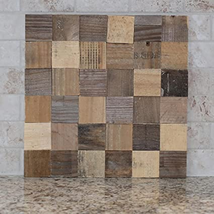 Amazon Reclaimed Wood 2 Square Tile 12 Inch X 12 Inch