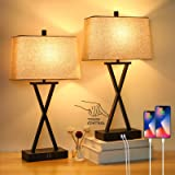 Set of 2 Touch Control 3-Way Dimmable Table Lamp Modern Nightstand Lamp with 2 USB Port Bedside Desk Lamp with Fabric Shade f