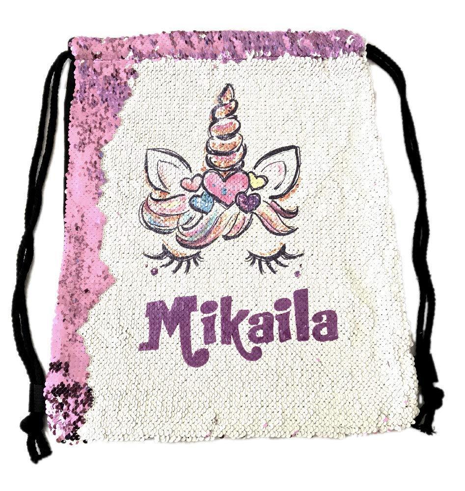 Personalized Unicorn Reverse Sequins Drawstring Bag Backpack (Pink)