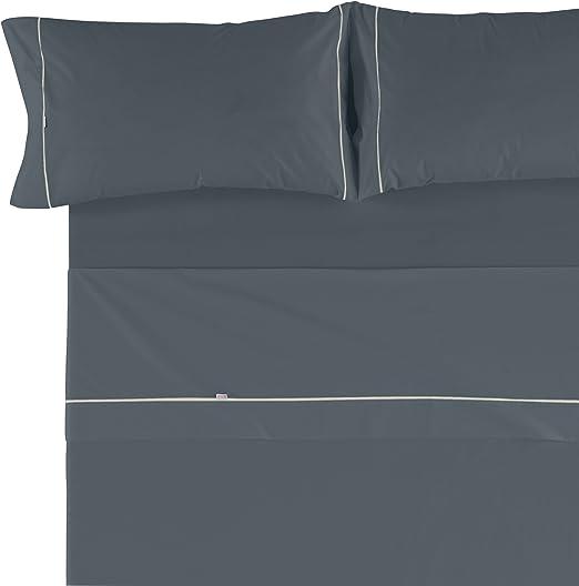 Es-Tela - Juego de sábanas liso con biés, color gris, cama de 150 ...