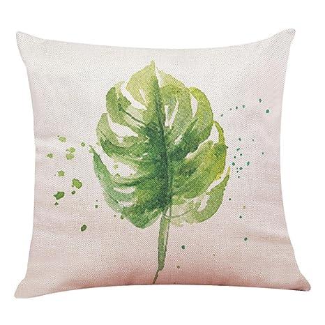 Lenfesh Fundas de Cojines Almohada de Plantas Tropicales Hoja Verde Decorativos Diseño para Sillas Camas Sofás Sofás (E)