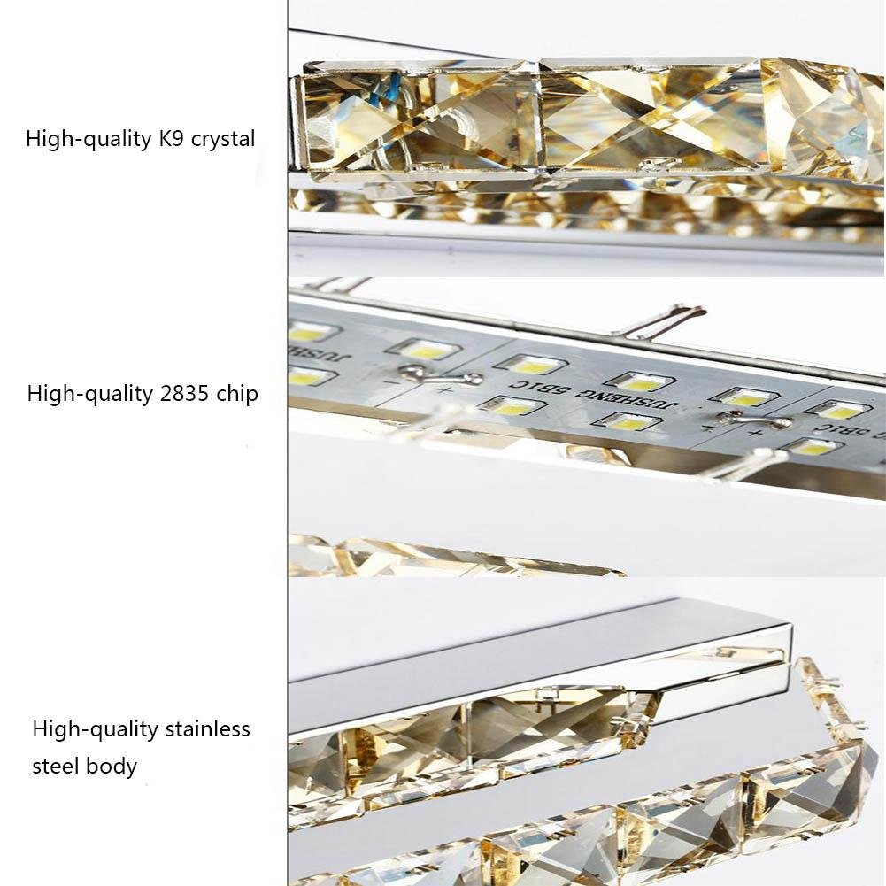 ZHY Crystal Mirror Headlights Fashion Simple LED Bedroom Bathroom Bathroom Mirror Lamp Luxury Lamps, A, 40cm by ZHY (Image #6)