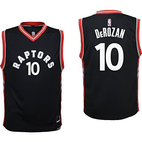 ff1a4198aa8 OuterStuff DeMar DeRozan Toronto Raptors #10 Black Youth Alterante Replica  Jersey Small 8
