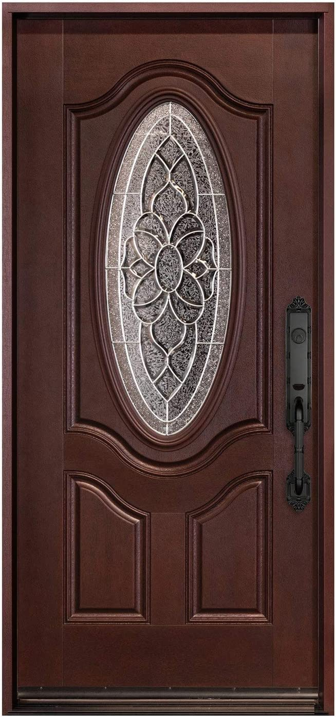 12X36X12X80, Right-Hand 12 Sidelites and 36X80 Mahogany Front Entry Door Prehung and Prefinish 6 Lite Exterior Door Wood Outdoor