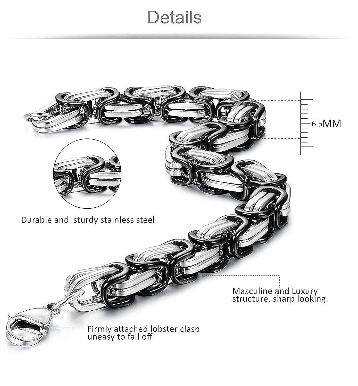 Sailimue 6.5-8mm Acier Inoxydable Collier Bracelet Suite Cha/îne Byzantine Noir Collier Punk 56-76CM