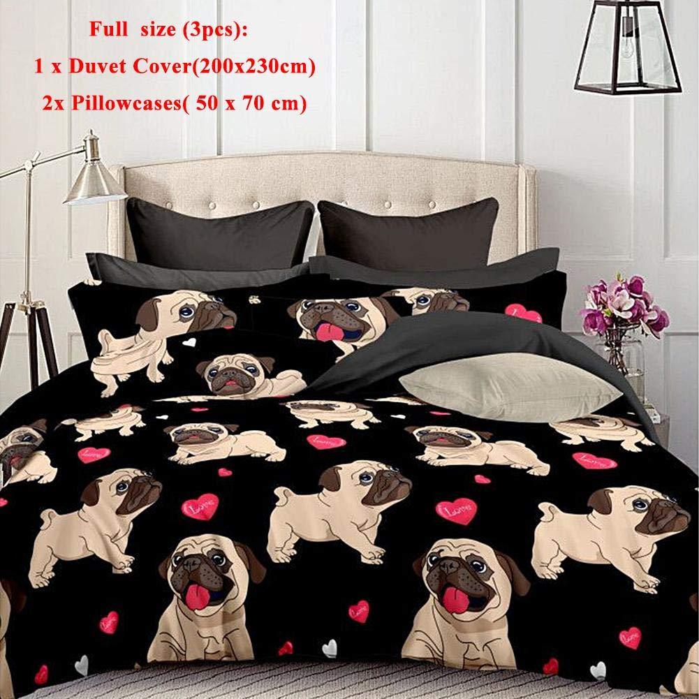 Juego de ropa de cama para perros, juego de fundas nó rdicas de cachorro de perro de dibujos animado lindo 3D Juegos individuales/completos/Queen/King Ropa de cama para niñ os con ropa de cama para niñ as cheerfulus