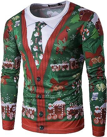 STTLZMC Santa Camisetas Hombre Manga Larga Blusa de Navidad Tops Sudaderas