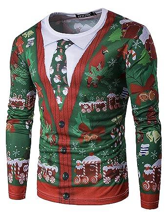 STTLZMC Santa Camisetas Hombre Manga Larga Blusa de Navidad Tops Sudaderas: Amazon.es: Ropa y accesorios