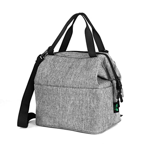 eee6004d9c51 Lunch Bag Box Insulated Lunch Tote Bag Cooler with YKK Zipper, Extra Pocket  Shoulder Strap For Meal Prep Men Women Adults 9 Cans (Grey N24) by ...