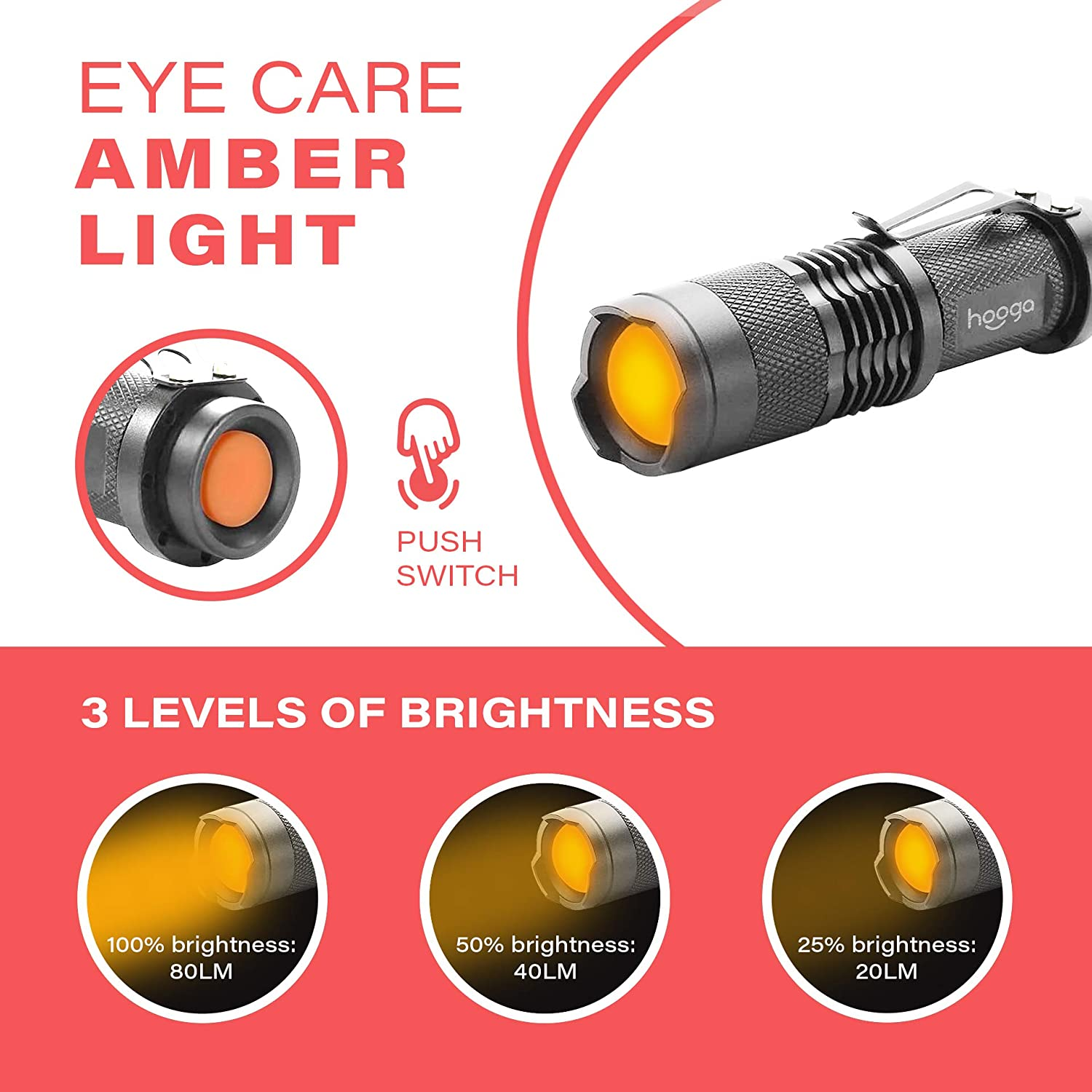 2 Pack 1600K Warm Light for Eye Care Blue Light Blocking Camping Sleep Aid Adjustable Brightness Amber Flashlight by Hooga LED Flashlight Aviation. Great for Hunting AA Battery Included