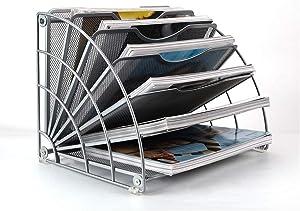 PAG Fan-Shaped Desk File Organizer Mail Letter Sorter Paper Holder Magazine Rack for Office Home School, Silver