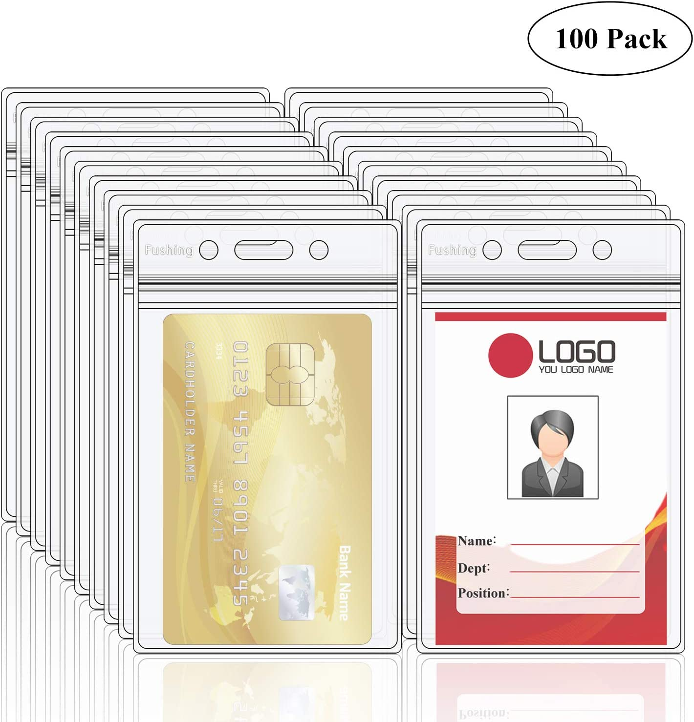 Fushing Pack of 100 Clear Plastic Vertical Badge Holders, Name Tag Holders, Card Holders (L) : Office Products